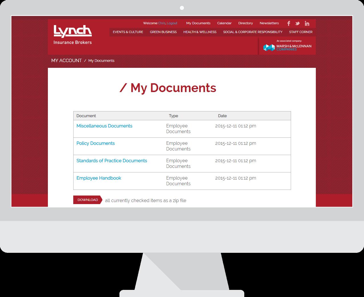 Lynch Insurance brokers - Intranet
